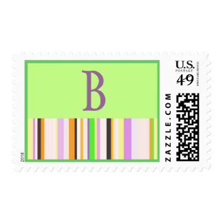PREPPY LETTER B WITH GREEN AND STRIPES POSTAGE STAMP