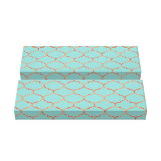 Preppy Light Blue and Orange Modern Pattern Canvas Print