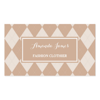 Preppy Light Brown Argyle Pattern Fashion Clothier Business Card