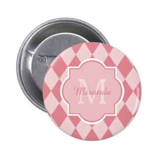 Preppy Light Pink Argyle Girly Monogram and Name 2 Inch Round Button