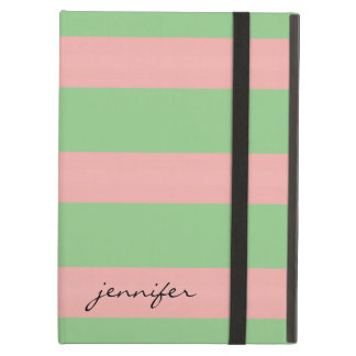 Preppy Light Pink Green Stripe Optional Name iPad Air Cover