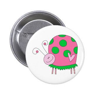 Preppy Lil Pink and Green Ladybug 2 Inch Round Button
