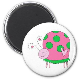 Preppy Lil Pink and Green Ladybug Fridge Magnet