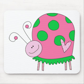 Preppy Lil Pink and Green Ladybug Mouse Pad