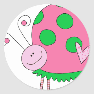 Preppy Lil Pink and Green Ladybug Classic Round Sticker