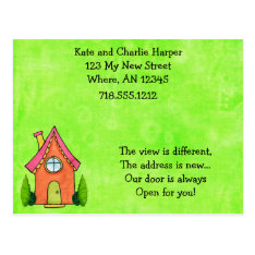 Preppy Lime Green And Pink New Address Moving Card at Zazzle
