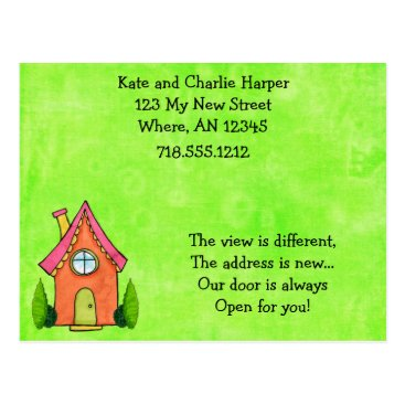 Musicat Preppy Lime Green And Pink New Address Moving Card