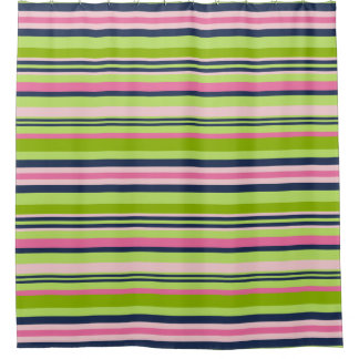 Preppy Lime Green, Pink And Navy Stripe Shower Curtain