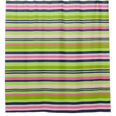 Blue Gray Turkish Stripe Shower Curtain | Zazzle