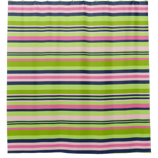 Preppy Lime Green Pink And Navy Stripe Shower Curtain Zazzle Com