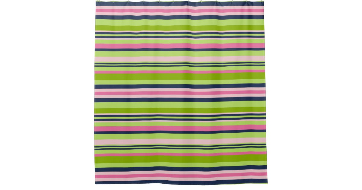 Preppy Lime Green Pink And Navy Stripe Shower Curtain