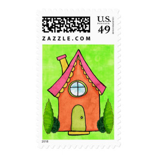 Preppy Lime Green & Pink New Address Moving Stamp