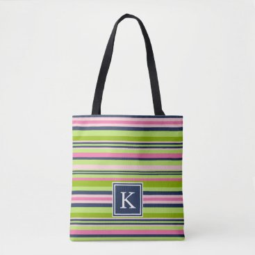 RedwoodAndVine Preppy Lime, Pink and Navy Stripe Monogram Tote Bag