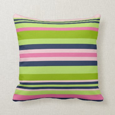 Beach Themed Preppy Lime, Pink and Navy Stripe Throw Pillow