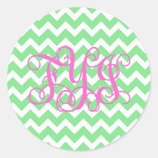 Preppy Lite Green with Pink FYI Monogram Stickes Classic Round Sticker
