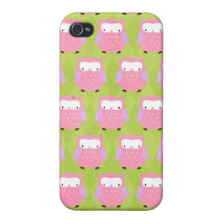 Preppy Little Owls Pink and Green Iphone Case iPhone 4/4S Cases