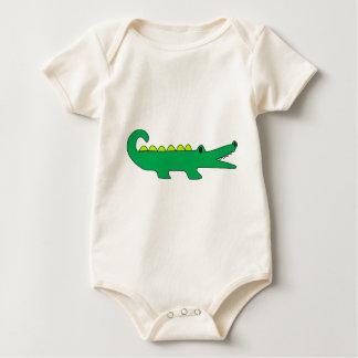 Preppy Modern Alligator Green Navy Nautical Beach Baby Bodysuit
