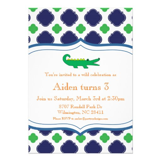 Preppy Modern Alligator Invitation Nautical Beach
