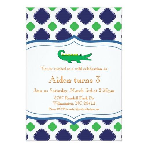 "Preppy Modern Alligator Invitation Nautical Beach 5"" X 7"" Invitation Card"
