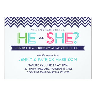 Preppy Modern Chevron Baby Gender Reveal Party Custom Announcements