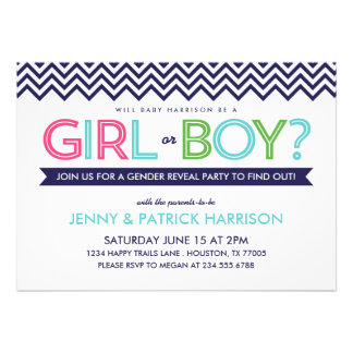 Preppy Modern Chevron Baby Gender Reveal Party Personalized Announcement