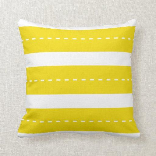 Modern Yellow Pillow : Preppy Modern Yellow White Stripes Throw Pillow Zazzle
