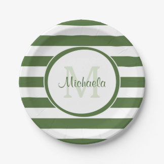 Preppy Monogram and Chunky Treetop Green Stripes Paper Plate