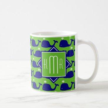Beach Themed Preppy Monogram | Blue & Green Whales Coffee Mug