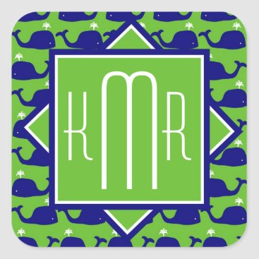 monogram_bouquet Preppy Monogram | Blue & Green Whales Square Sticker