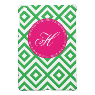 Preppy Monogram Modern Pattern Pink and Green Case Cover For The iPad Mini