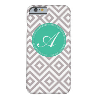 Preppy Monogram Pattern Gray and Blue iPhone 6 cas Barely There iPhone 6 Case