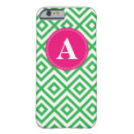 Preppy Monogram Pattern Pink and Green iPhone 6 ca Barely There iPhone 6 Case