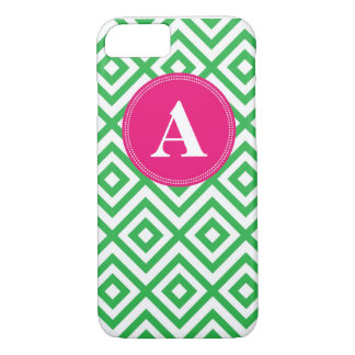 Preppy Monogram Pattern Pink and Green iPhone 7 ca iPhone 7 Case