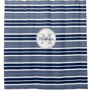 Navy Blue White Stripes Shower Curtains