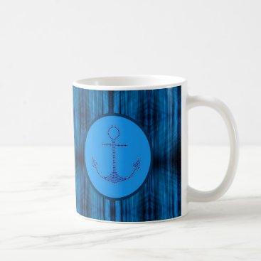 Beach Themed Preppy Nautical abstract stripes beach blue Anchor Coffee Mug
