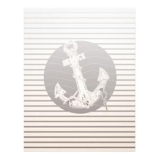 Preppy Nautical beige stripes beach Anchor Letterhead