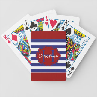 Preppy Nautical Blue and White Stripes Bicycle Playing Cards