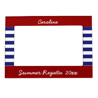 Preppy Nautical Blue and White Stripes Magnetic Frame