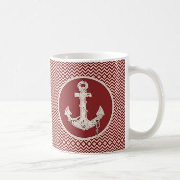 Beach Themed Preppy Nautical burgundy chevron beach anchor Coffee Mug