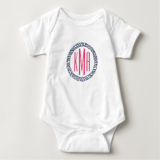 Preppy Nautical Navy & Pink Rope Monogram Baby Baby Bodysuit