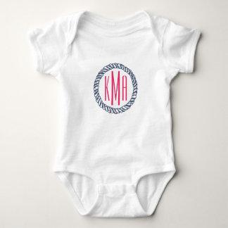 Preppy Nautical Navy & Pink Rope Monogram Baby Baby Bodysuit