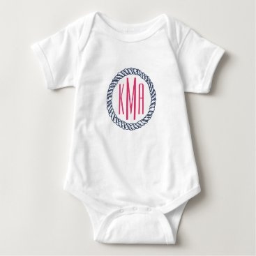 RedwoodAndVine Preppy Nautical Navy & Pink Rope Monogram Baby Baby Bodysuit