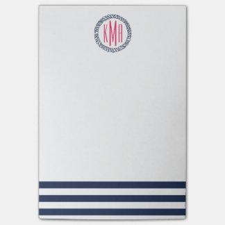 Preppy Nautical Navy Stripe & Pink Monogram Post-it Notes