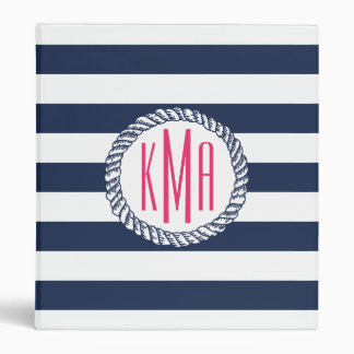 Preppy Nautical Navy & White Stripe Pink Monogram 3 Ring Binder