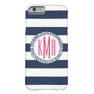 Preppy Nautical Navy & White Stripe Pink Monogram Barely There iPhone 6 Case