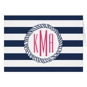 RedwoodAndVine Preppy Nautical Navy & White Stripe Pink Monogram Card
