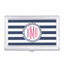 Preppy Nautical Navy & White Stripe Pink Monogram Case For Business Cards
