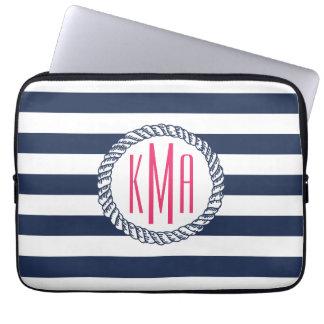 Preppy Nautical Navy & White Stripe Pink Monogram Computer Sleeve