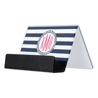 Preppy Nautical Navy & White Stripe Pink Monogram Desk Business Card Holder