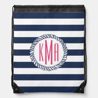 Preppy Nautical Navy & White Stripe Pink Monogram Drawstring Backpack
